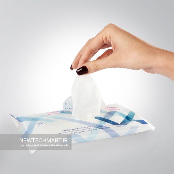 بسته ۲۰ عددی دستمال مرطوب آنتیباکتریال دست و صورت نیوساد (بدون پاربن و بدون الکل) - مدل بالشتی