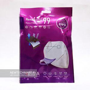 ماسک تنفسی نانویی N99 رسپینانو بدون سوپاپ رسپی نانو - FFP3 - ماسک ریما