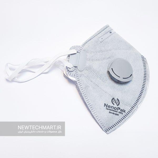 ماسک تنفسی سوپاپدار کربنی نانوپاک - FFP3 (دارای فیلتر کربن اکتیو)
