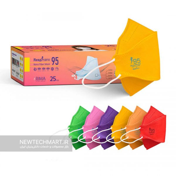 بسته ۲۵ عددی ماسک سه بعدی کودکان نانویی N95 رسپینانو - مدل ماهی (Fish type)